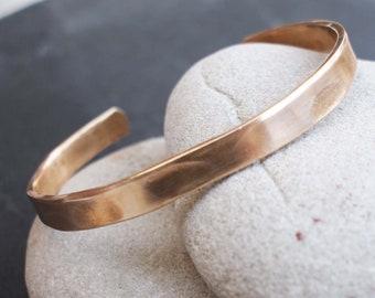 Hammered Bronze Bracelet, 8th Anniversary Gift, Simple Bronze Cuff