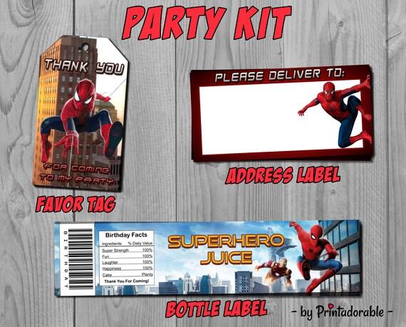 Spiderman Party Set - Superheroes Kit - Favor Tag, Address Label and Bottle Labels - PDF or JPG