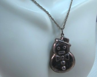 Sterling Snowman Pendant and Sterling Chain