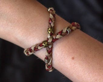 Leatherbracelet 3 colors braided with silver and bronze beads