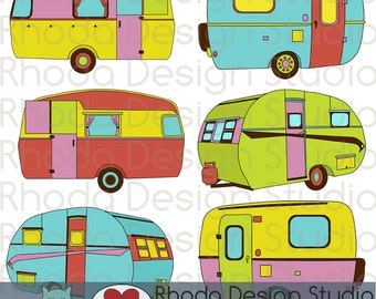 Cheery Sherbet Campers Digital Clip Art Retro Camp Trailers