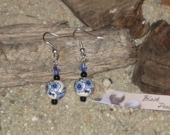 Earrings porcelain pearl with blue cherry blossom