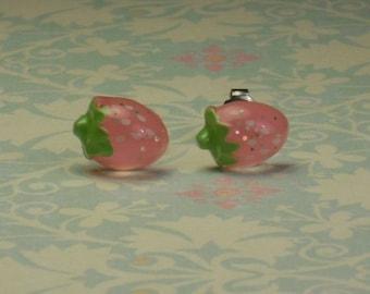 Pink Strawberry Stud Earrings