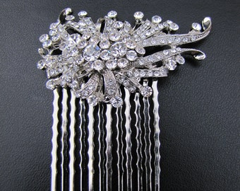 Vintage inspired bridal hair comb,  Rhinestones fascinator, wedding hair piece - Erica