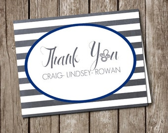 Thank You Card - Custom Baby Shower Printable Thank You Card with Names and Your Choice of Colors