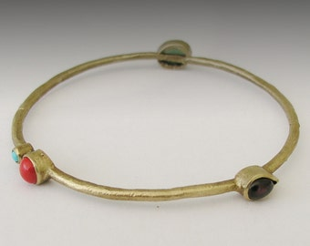 Brass bangle with turquoise, coral, garnet and aventurine - brass gemstones bangle - Light of the sun BK6701-1