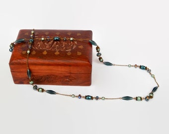 Blue green bronze with ice blue glass diamonds long elegant necklace