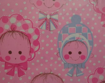 Vintage 1970s Wrapping Paper for Baby-Polka Dots & Baby Bonnets-2 Sheets NIP