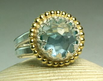Swiss Blue Topaz Ring, Sterling SIlver, 14k Gold, Natural Faceted Gemstone, Handmade Artisan Jewelry, made to order