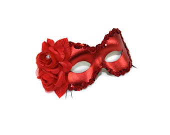 Rosa Red Masquerade Ball Mask - A-0944R-E