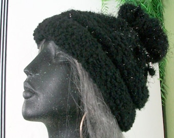 HAT WOMEN KNITTED  Slouchy Beanie Ski hat Cowl Silver colored beads