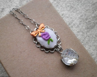 Embroidered Purple Rose Charm Necklace - Purple Flower Embroidery Necklace - Sweet Single Rose & Copper Bow Fiber Art Floral Jewelry Gift