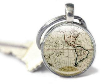 Map Keyring key chain, Antique Maps, world keyring, photo keyring, ancient maps, globe keyring brown keychain, travel gift, vintage