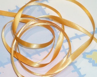 GOLD DouBLe FaCeD SaTiN RiBBoN, Polyester 1/4 inch wide, 5 Yards
