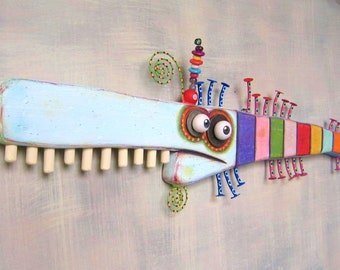 Rainbow Trout, MADE to ORDER, Fish Wall Art, Original Found Object Wall Sculpture, Wood Carving, Nautical Art, by Fig Jam Studio