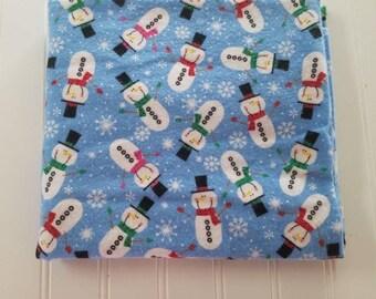 Flannel fabric,  snowman fabric, fabric remnant,  fabric destash, 1 yard
