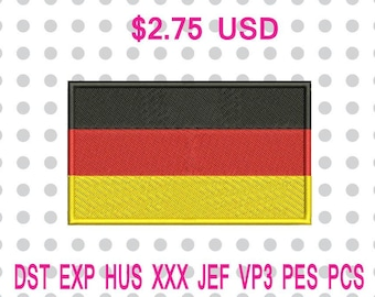 Germanny Flag Machine Embroidery Design 3 Sizes-INSTANT DOWNLOAD