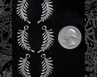 Three Sets of 2 Twisted Fern Charms - Silver XXX  *S-C01