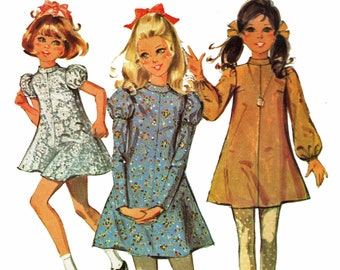 Girls 1960s Mini Dress Pattern / Short, Long Full or Juliet Sleeve Dress / Out of Print Sewing Pattern McCalls 2063 / Size 12 Breast 30