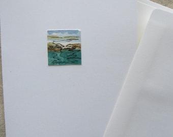 Maine Handmade Greeting Cards Art - Original Art - Hand Painted Greeting Card #6- Tiny Maine Seascape - Unique