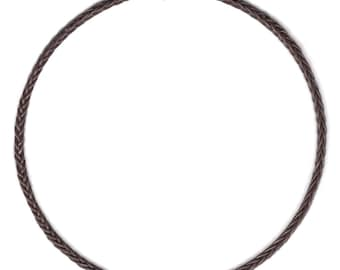 Brown Braided Leather Cord Necklace 8 ply 1 mm  leather  braid  like fish bone (Choker)