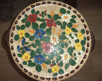 Old large ceramic dish / signed Jérôme Massier/Vallauris/antique french pottery/decor flowers