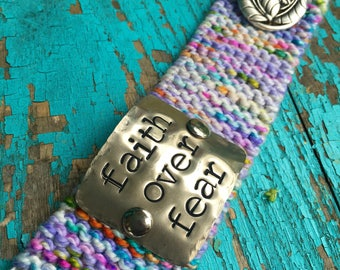 Scripture Verse Bracelet, Custom Hand Stamped Cuff, Faith Over Fear Jewelry, Rainbow Knit Cuff