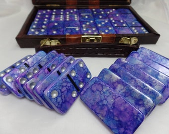 Dominoes 'Deep Space' Hand Painted 28 Piece Standard Size Double Six Domino Set in Leather-look Briefcase, purple, alcohol ink, instructions