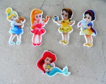 """5 appliques to stick """"Baby Princess"""" 45 mm"""