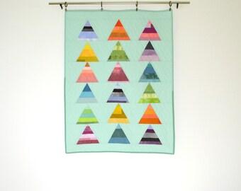 Rainbow Baby Quilt, Modern Crib Quilt, Aqua Quilt, Geometric Baby Bedding, Wall Hanging, Geometric Baby Quilt