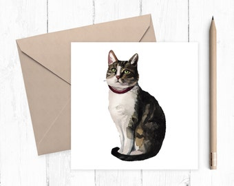 Cat Blank Greeting Card - cat card - blank card - cat birthday card - any occasion card - ideal for cat lovers