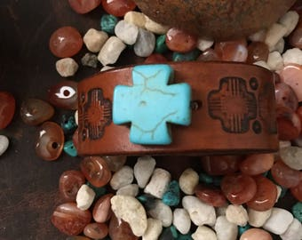 Hand Stamped Leather Cuff With Turquoise Cross RM14A