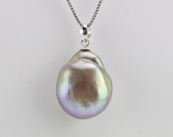 17mm large baroque pearl necklace,natural purple lavender keshi pearl necklace,unique pearl necklace gift,unique pearl pendant,ONLY ONE