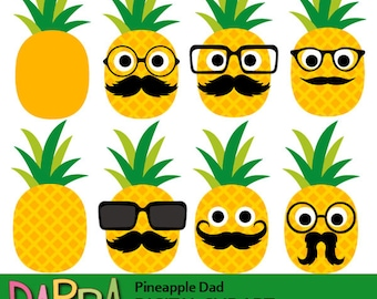 Cute pineapple clipart commercial use / Father's day clip art pineapple head face, glasses mustache / digital images