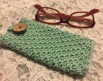Crochet Eyeglass Case in Mint 100% Mercerized Cotton Yarn
