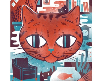 Cat Screen Print - 11x17 Indoor Cat Print