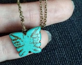 divisé en beau - fait nouveau papillon collier - collier papillon turquoise pierres précieuses - bijoux Christian
