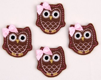 OWL - Embroidered Felt Embellishments / Appliques - Brown & Pink  (Qnty of 4) SCF6530