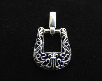 Womens Vintage Estate Sterling Silver Buckle Pendant 11.5g E1293