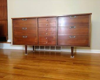 Mid Century Nine Drawer Credenza / Triple Dresser