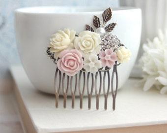 Ivory Rose, Blush Pink Rose, Pearl, Crystal Rhinestone Leaf Collage Flower Hair Comb. Bridesmaid Gift. Pink Wedding. Bridal Summer Wedding