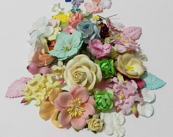 50 Mixed Size of Color Handmade Mulberry Paper Flowers