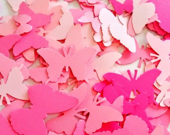 Paper pink butterflies die cut butterflies, die cuts, wedding decorations, scrapbooking, weddings, mix pink confetti butterflies (250 cuts)