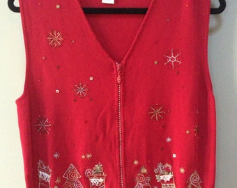 Christmas Sweater Vest, Red Beaded Holiday Sweater, Vintage Christmas Vest zip cardigan vest beaded snowflakes christmas trees stockings