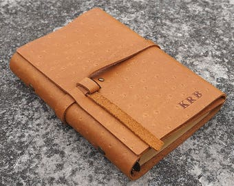 Unique leather notebook, personalized leather journal, Travel journal