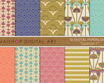 Digital Paper 'Egyptian II' Turquoise, Cream, Pink, Blue, Gold... Geometric Floral Scrapbook Paper Download for Crafts, Cards, Invites..
