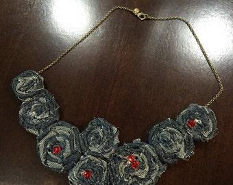 Denim Rosettes Necklace with Red Rhinestones