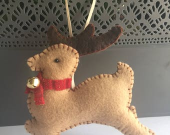 Reindeer Christmas ornaments, felt ornaments handmade, Christmas Reindeers, Christmas decorations, Christmas tree decorations, keepsakes