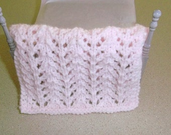 Pink Miniature Blanket - Hand Knit Pale Pink  Miniature  Blanket - One Twelfth Scale Blanket -  Miniature Enthusiast