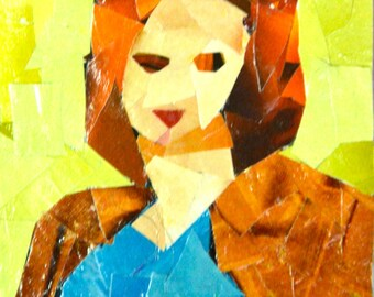 Original ACEO- Lady in a Leather Jacket
